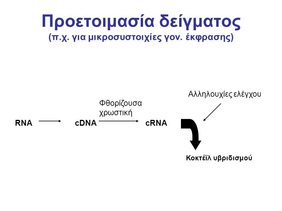 Προετοιμασία δείγματος (π.χ. για μικροσυστοιχίες γον. έκφρασης) Αλληλουχίες ελέγχου Φθορίζουσα χρωστική Κοκτέϊλ υβριδισμού RNA cDNA cRNA