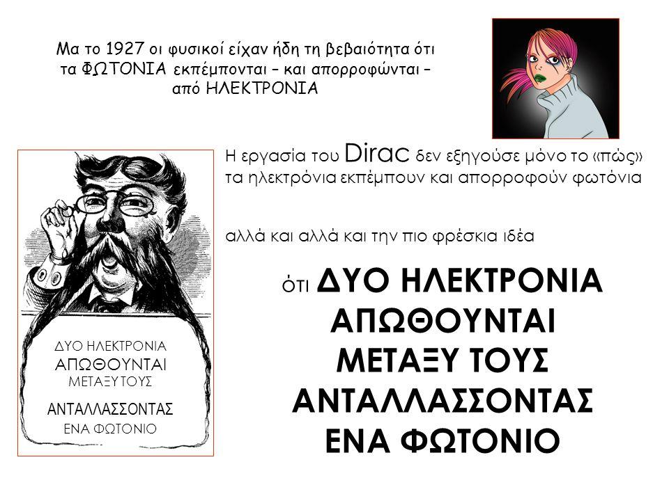 Μα το 1927 οι φυσικοί είχαν ήδη τη βεβαιότητα ότι τα ΦΩΤΟΝΙΑ εκπέμπονται – και απορροφώνται – από ΗΛΕΚΤΡΟΝΙΑ Η εργασία του Dirac δεν εξηγούσε μόνο το «πώς» τα ηλεκτρόνια εκπέμπουν και απορροφούν φωτόνια αλλά και αλλά και την πιο φρέσκια ιδέα ΔΥΟ ΗΛΕΚΤΡΟΝΙΑ ΑΠΩΘΟΥΝΤΑΙ ΜΕΤΑΞΥ ΤΟΥΣ ΑΝΤΑΛΛΑΣΣΟΝΤΑΣ ΕΝΑ ΦΩΤΟΝΙΟ ότι ΔΥΟ ΗΛΕΚΤΡΟΝΙΑ ΑΠΩΘΟΥΝΤΑΙ ΜΕΤΑΞΥ ΤΟΥΣ ΑΝΤΑΛΛΑΣΣΟΝΤΑΣ ΕΝΑ ΦΩΤΟΝΙΟ