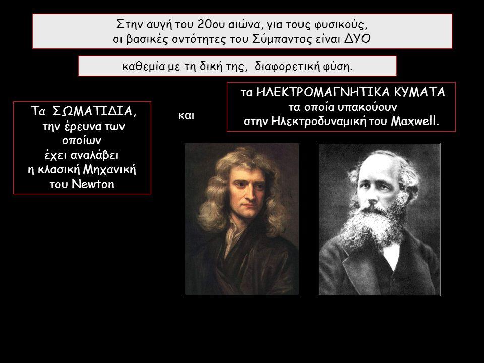 Στην αυγή του 20ου αιώνα, για τους φυσικούς, οι βασικές οντότητες του Σύμπαντος είναι ΔΥΟ Τα ΣΩΜΑΤΙΔΙΑ, την έρευνα των οποίων έχει αναλάβει η κλασική Μηχανική του Newton τα ΗΛΕΚΤΡΟΜΑΓΝΗΤΙΚΑ ΚΥΜΑΤΑ τα οποία υπακούουν στην Ηλεκτροδυναμική του Maxwell.