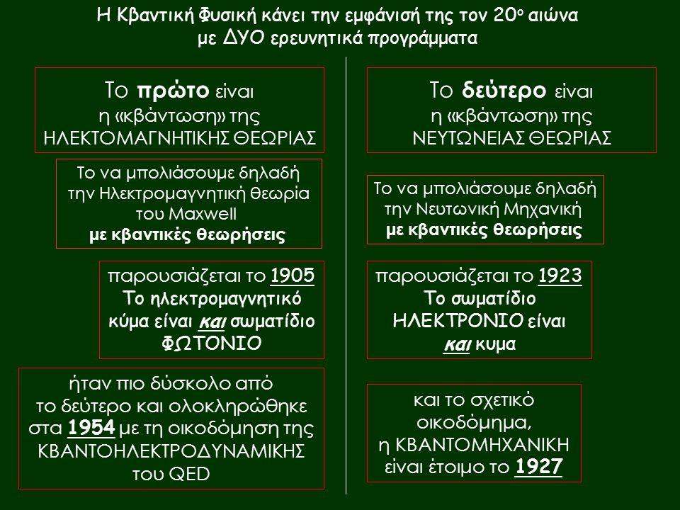 Το πρώτο είναι η «κβάντωση» της ΗΛΕΚΤΟΜΑΓΝΗΤΙΚΗΣ ΘΕΩΡΙΑΣ Το δεύτερο είναι η «κβάντωση» της ΝΕΥΤΩΝΕΙΑΣ ΘΕΩΡΙΑΣ παρουσιάζεται το 1905 Το ηλεκτρομαγνητικό κύμα είναι και σωματίδιο ΦΩΤΟΝΙΟ παρουσιάζεται το 1923 Το σωματίδιο ΗΛΕΚΤΡΟΝΙΟ είναι και κυμα ήταν πιο δύσκολο από το δεύτερο και ολοκληρώθηκε στα 1954 με τη οικοδόμηση της ΚΒΑΝΤΟΗΛΕΚΤΡΟΔΥΝΑΜΙΚΗΣ του QED και το σχετικό οικοδόμημα, η ΚΒΑΝΤΟΜΗΧΑΝΙΚΗ είναι έτοιμο το 1927 Το να μπολιάσουμε δηλαδή την Ηλεκτρομαγνητική θεωρία του Maxwell με κβαντικές θεωρήσεις Το να μπολιάσουμε δηλαδή την Νευτωνική Μηχανική με κβαντικές θεωρήσεις Η Κβαντική Φυσική κάνει την εμφάνισή της τον 20 ο αιώνα με ΔΥΟ ερευνητικά προγράμματα
