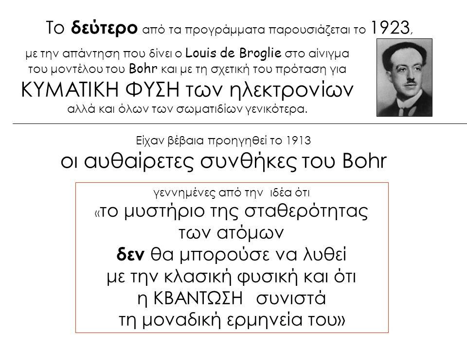 Το δεύτερο από τα προγράμματα παρουσιάζεται το 1923, Είχαν βέβαια προηγηθεί το 1913 οι αυθαίρετες συνθήκες του Bohr γεννημένες από την ιδέα ότι « το μυστήριο της σταθερότητας των ατόμων δεν θα μπορούσε να λυθεί με την κλασική φυσική και ότι η ΚΒΑΝΤΩΣΗ συνιστά τη μοναδική ερμηνεία του» με την απάντηση που δίνει ο Louis de Broglie στο αίνιγμα του μοντέλου του Bohr και με τη σχετική του πρόταση για ΚΥΜΑΤΙΚΗ ΦΥΣΗ των ηλεκτρονίων αλλά και όλων των σωματιδίων γενικότερα.