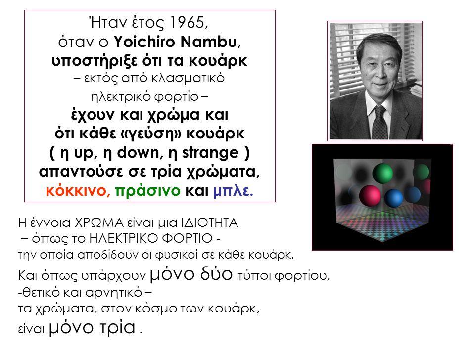 Ήταν έτος 1965, όταν ο Yoichiro Nambu, υποστήριξε ότι τα κουάρκ – εκτός από κλασματικό ηλεκτρικό φορτίο – έχουν και χρώμα και ότι κάθε «γεύση» κουάρκ