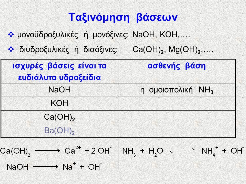 Ονοματολογία βάσεων υδροξείδιο του + όνομα μετάλλου, π.χ.: NaOH: υδροξείδιο του νατρίου. KOH: υδροξείδιο του καλίου. Mg(OH) 2 : ; Fe(OH) 2 : ; Fe(OH)