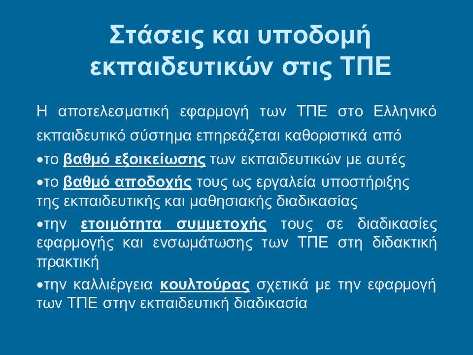 Στάσεις και υποδομή εκπαιδευτικών στις ΤΠΕ Η αποτελεσματική εφαρμογή των ΤΠΕ στο Ελληνικό εκπαιδευτικό σύστημα επηρεάζεται καθοριστικά από  το βαθμό εξοικείωσης των εκπαιδευτικών με αυτές  το βαθμό αποδοχής τους ως εργαλεία υποστήριξης της εκπαιδευτικής και μαθησιακής διαδικασίας  την ετοιμότητα συμμετοχής τους σε διαδικασίες εφαρμογής και ενσωμάτωσης των ΤΠΕ στη διδακτική πρακτική  την καλλιέργεια κουλτούρας σχετικά με την εφαρμογή των ΤΠΕ στην εκπαιδευτική διαδικασία