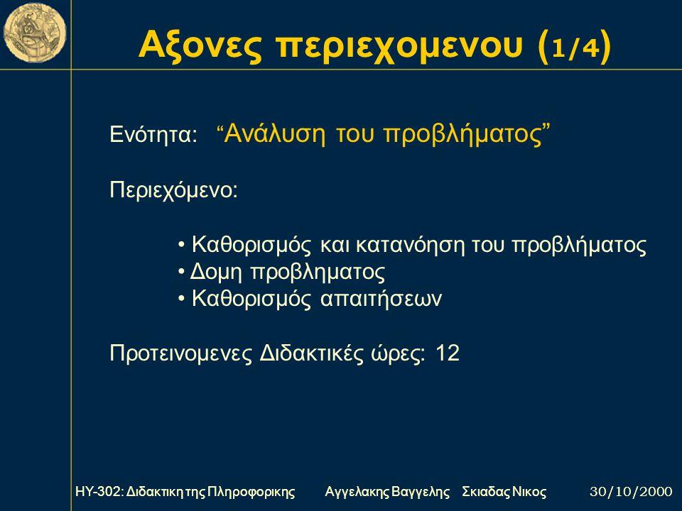 Ποιος ειναι ο σκοπος του μαθηματος ΗΥ-302: Διδακτικη της Πληροφορικης Αγγελακης Βαγγελης Σκιαδας Νικος 30/10/2000 Συμφωνα με το Παιδαγωγικο Ινστιτουτο
