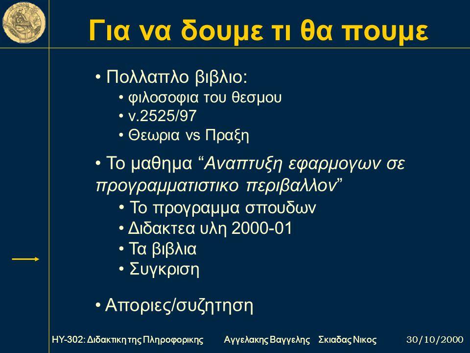 Για να δουμε τι θα πουμε ΗΥ-302: Διδακτικη της Πληροφορικης Αγγελακης Βαγγελης Σκιαδας Νικος 30/10/2000 Πολλαπλο βιβλιο: φιλοσοφια του θεσμου ν.2525/97 Θεωρια vs Πραξη Το μαθημα Αναπτυξη εφαρμογων σε προγραμματιστικο περιβαλλον Το προγραμμα σπουδων Διδακτεα υλη 2000-01 Τα βιβλια Συγκριση Αποριες/συζητηση ΗΥ-302: Διδακτικη της Πληροφορικης Αγγελακης Βαγγελης Σκιαδας Νικος 30/10/2000