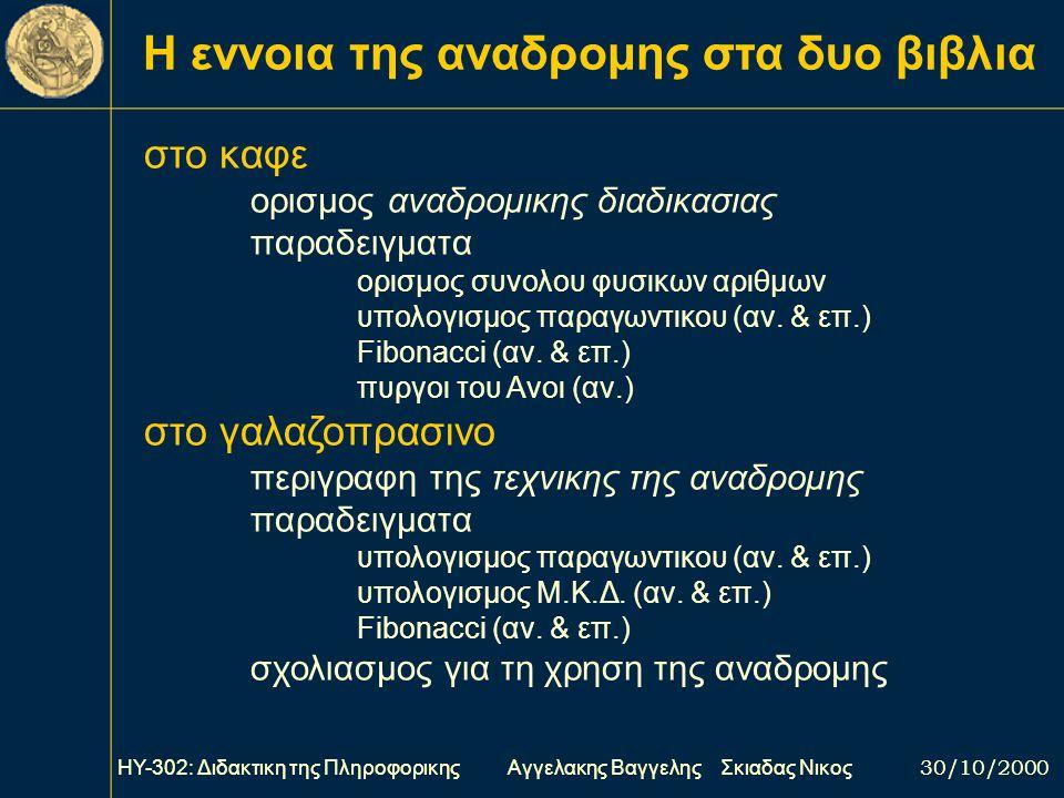 ΗΥ-302: Διδακτικη της Πληροφορικης Αγγελακης Βαγγελης Σκιαδας Νικος 30/10/2000 Η «ΓΛΩΣΣΑ» ειναι ενα κατασκευασμα που θυμιζει εντονοτατα pascal και χρη