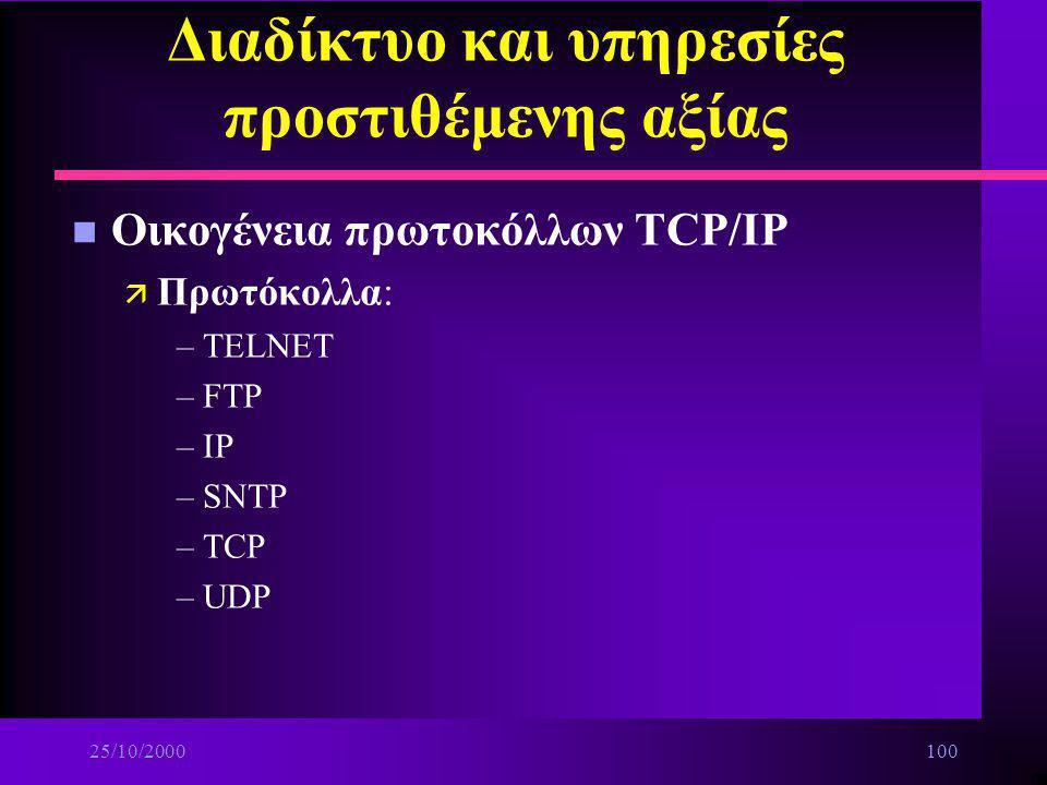25/10/200099 Διαδίκτυο και υπηρεσίες προστιθέμενης αξίας n Τα βασικά στοιχεία του INTERNET ä Τρόπος δόμησης: –λειτουργία σε διεθνές επίπεδο –λειτουργί