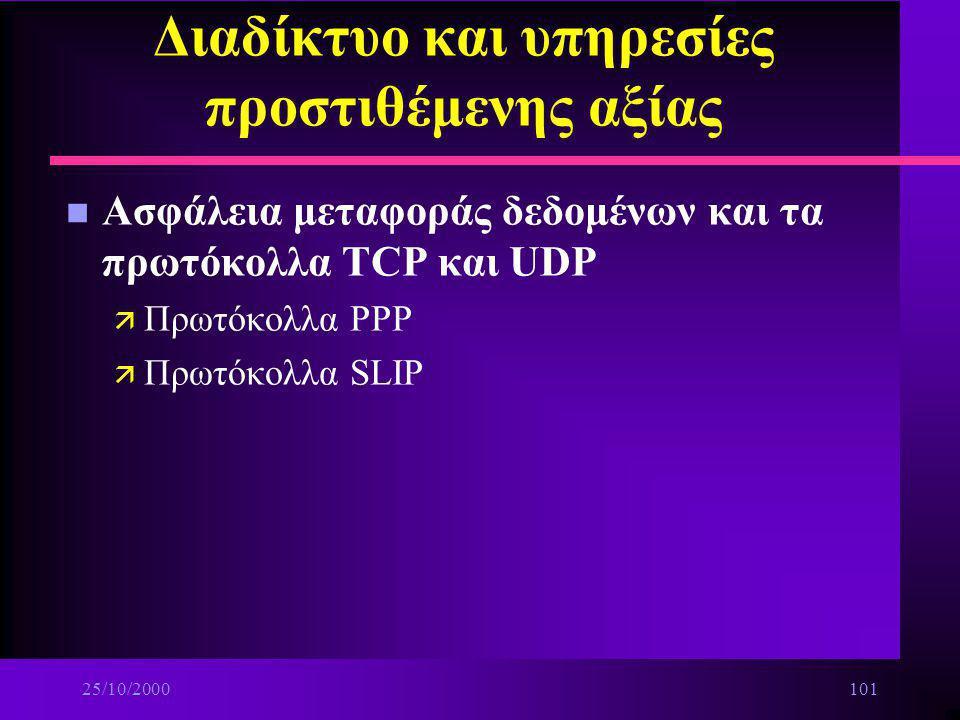 25/10/2000100 Διαδίκτυο και υπηρεσίες προστιθέμενης αξίας n Οικογένεια πρωτοκόλλων TCP/IP ä Πρωτόκολλα: –TELNET –FTP –IP –SNTP –TCP –UDP