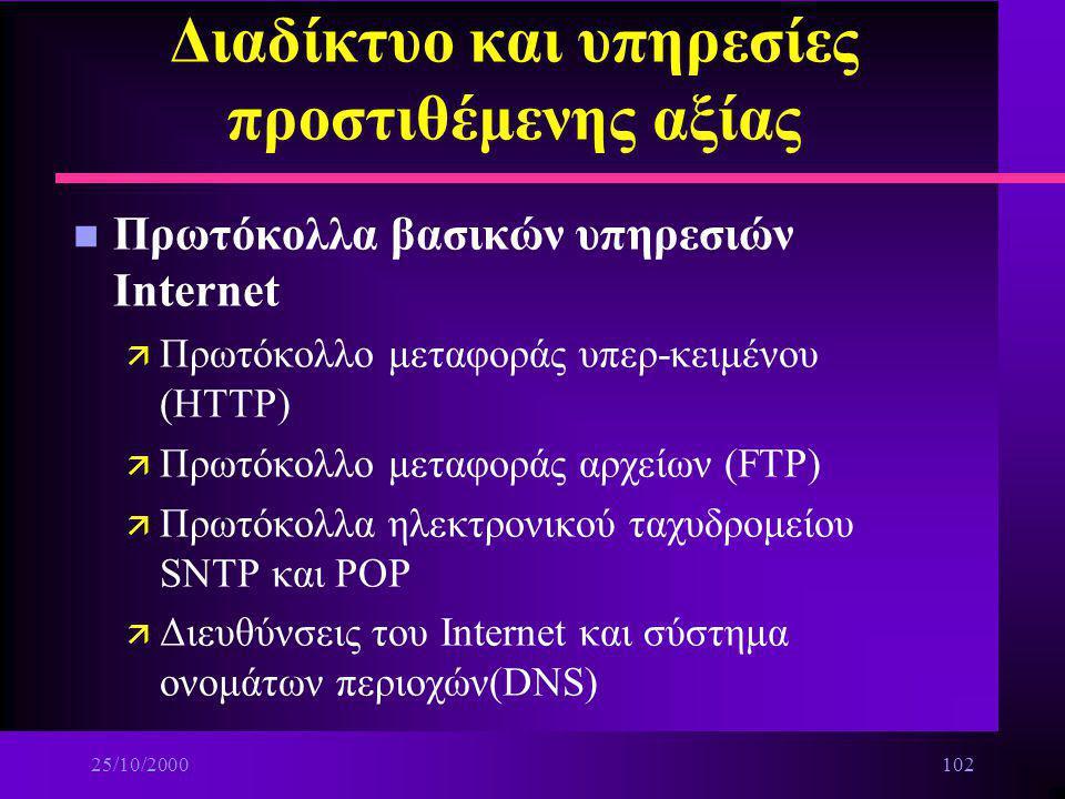 25/10/2000101 Διαδίκτυο και υπηρεσίες προστιθέμενης αξίας n Ασφάλεια μεταφοράς δεδομένων και τα πρωτόκολλα TCP και UDP ä Πρωτόκολλα PPP ä Πρωτόκολλα S