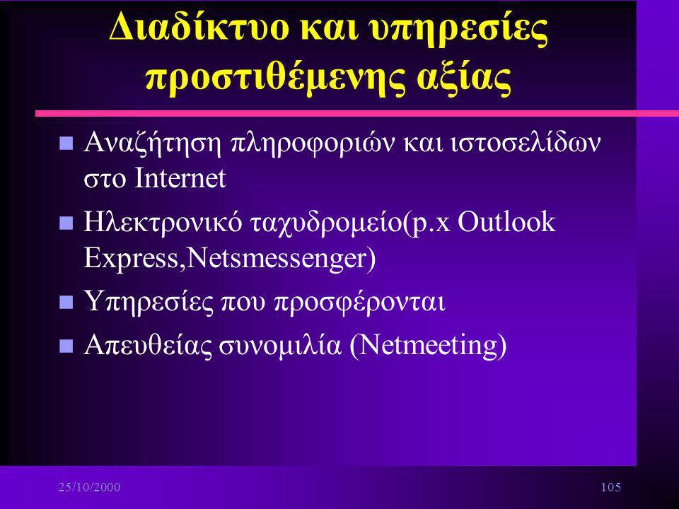 25/10/2000104 Διαδίκτυο και υπηρεσίες προστιθέμενης αξίας n Σύνδεση με το Internet για τις βασικές υπηρεσίες ä Τι χρειάζεται για να συνδεθείς ä Φυλλομ