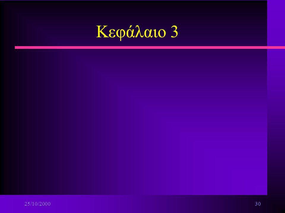 25/10/200029 Δομικά στοιχεία πολυμέσων n Ψηφιοποίηση βίντεο-χαρακτηριστικά ä Συχνότητα δειγματολειψίας (sampling rate) ä Ταχύτητα πλαισίων (frame rate