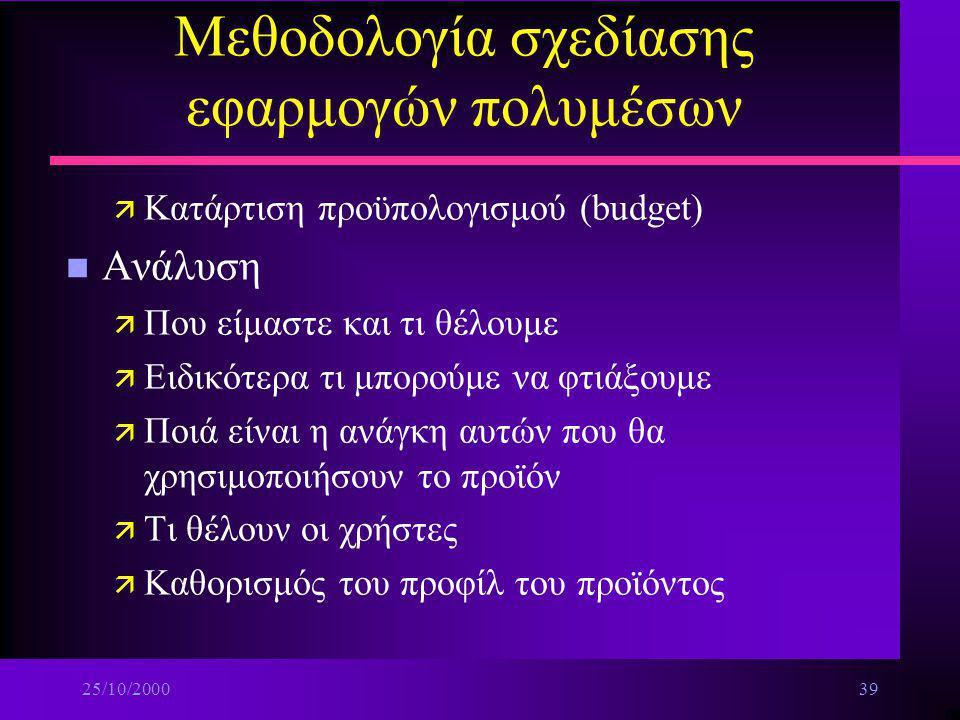 25/10/200038 Μεθοδολογία σχεδίασης εφαρμογών πολυμέσων –Ειδικός για τη συγγραφή του τίτλου και προγραμματιστής (Multimedia Architect) –Σεναριογράφος (