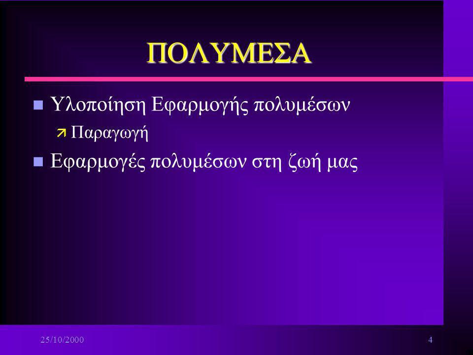 25/10/20003 ΠΟΛΥΜΕΣΑ n Ο κόσμος των πολυμέσων ä Εισαγωγή στα πολυμέσα ä Τα δομικά στοιχεία των πολυμέσων ä Λογισμικό συγγραφής πολυμέσων n Ανάλυση-Σχε