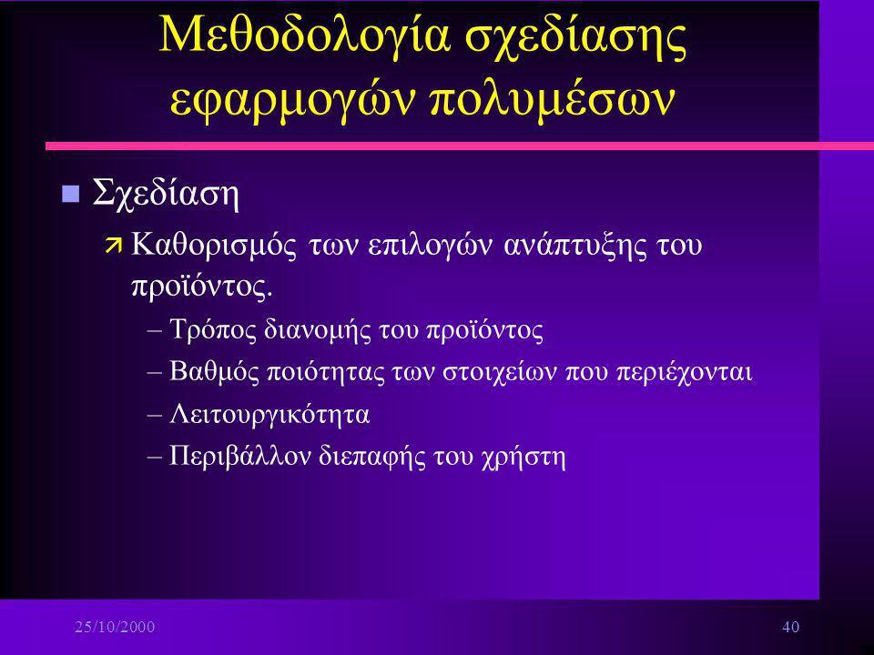 25/10/200039 Μεθοδολογία σχεδίασης εφαρμογών πολυμέσων ä Κατάρτιση προϋπολογισμού (budget) n Ανάλυση ä Που είμαστε και τι θέλουμε ä Ειδικότερα τι μπορ