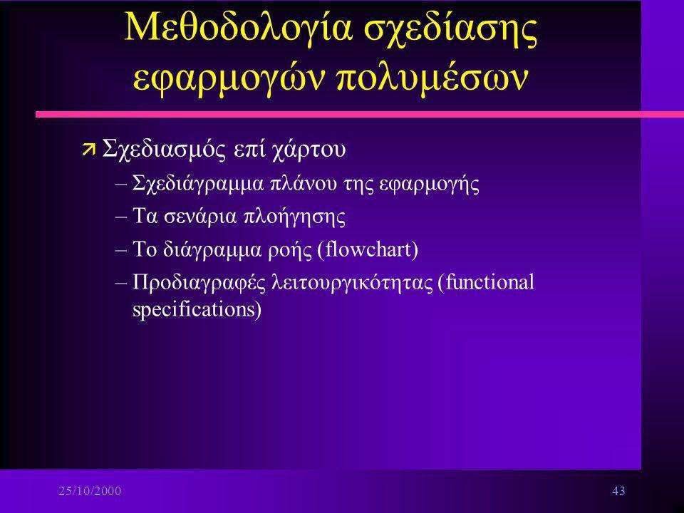 25/10/200042 Μεθοδολογία σχεδίασης εφαρμογών πολυμέσων ä Οργάνωση του περιεχομένου –Οπτικός πίνακας περιεχομένου n Βήμα 1ο:Κατηγορίες περιεχομένων n Β