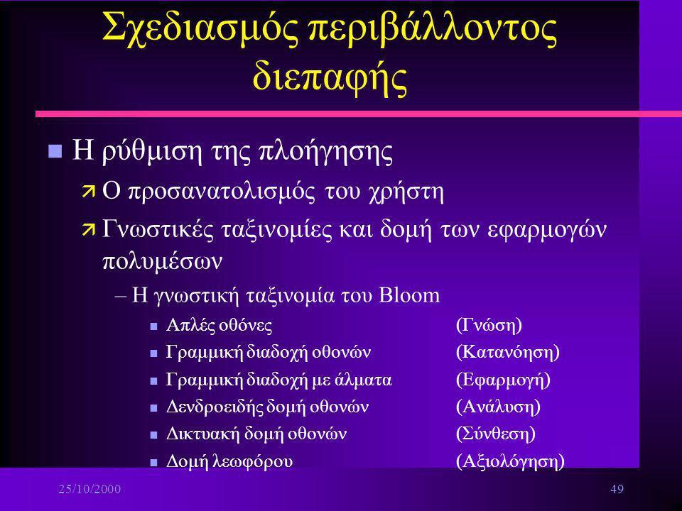 25/10/200048 Σχεδιασμός περιβάλλοντος διεπαφής ä Πετυχαίνετε κωδικοποίηση της πληροφορίας δίνοντας στο χρήστη ασκήσεις εξομοίωσης πραγματικών συνθηκών