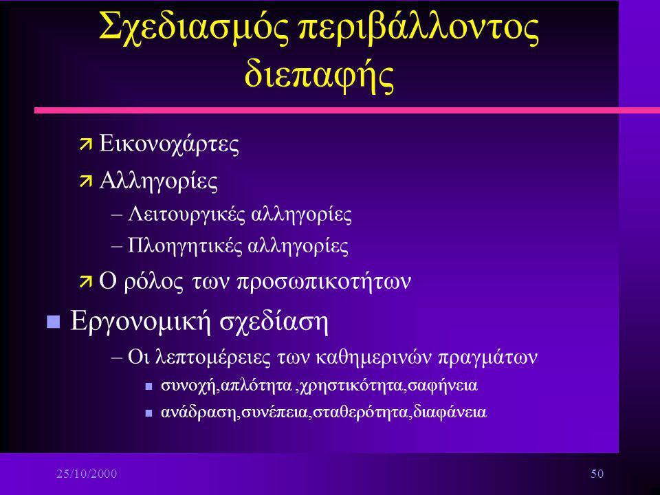 25/10/200049 Σχεδιασμός περιβάλλοντος διεπαφής n Η ρύθμιση της πλοήγησης ä Ο προσανατολισμός του χρήστη ä Γνωστικές ταξινομίες και δομή των εφαρμογών