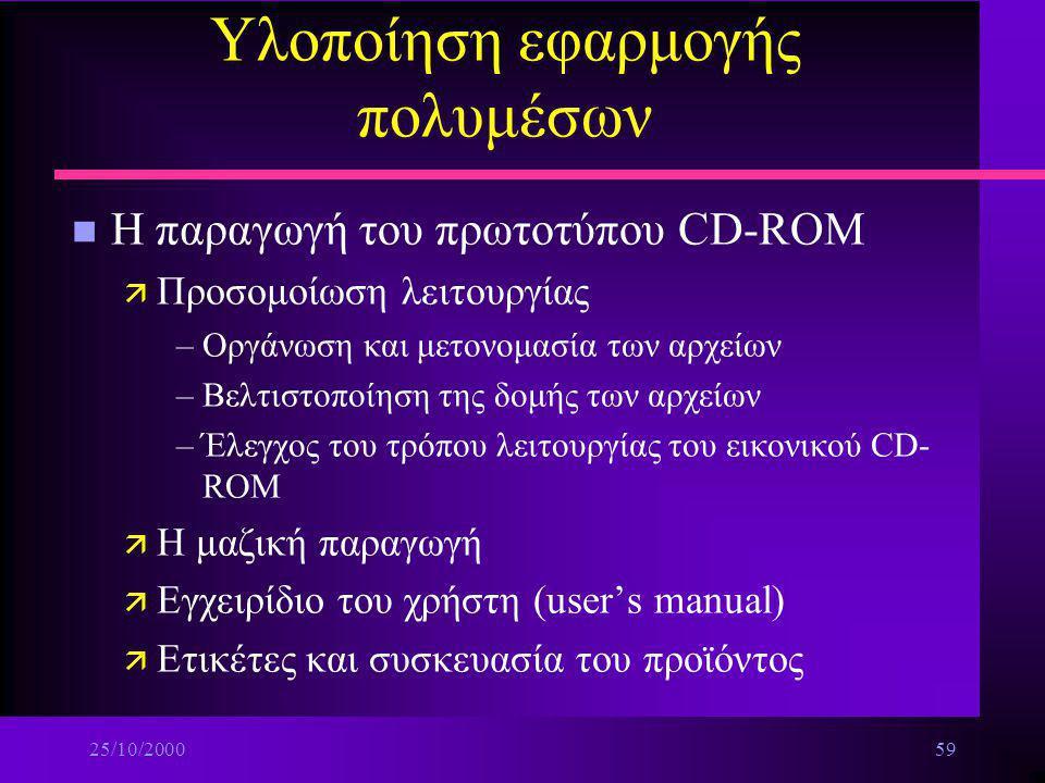 25/10/200058 Υλοποίηση εφαρμογής πολυμέσων n Οργάνωση και διαχείριση αρχείων μιας μεγάλης εφαρμογής πολυμέσων ä Διατήρηση αρχείων ασφαλείας (Back up)