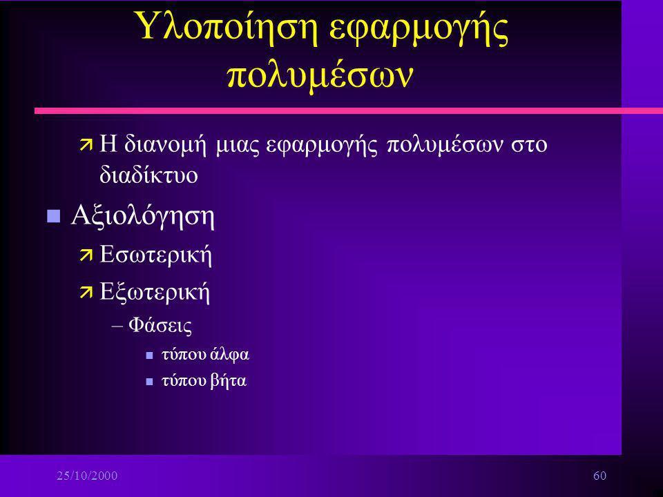 25/10/200059 Υλοποίηση εφαρμογής πολυμέσων n Η παραγωγή του πρωτοτύπου CD-ROM ä Προσομοίωση λειτουργίας –Οργάνωση και μετονομασία των αρχείων –Βελτιστ