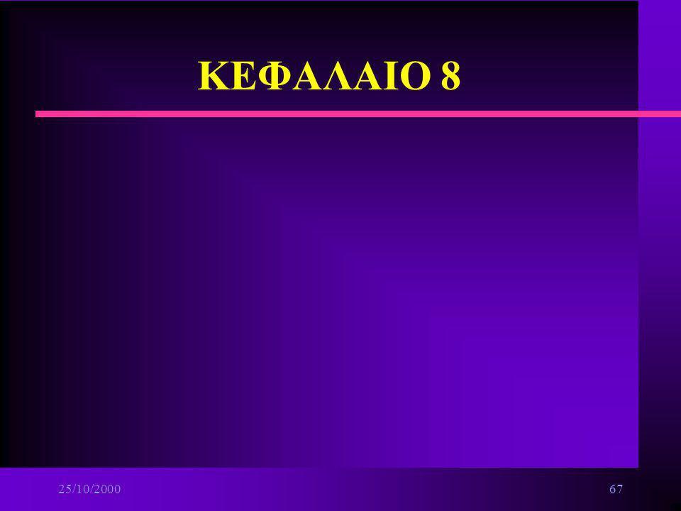 25/10/200066 ΔΙΚΤΥΑ n Επικοινωνίες Δεδομένων n Βασικές αρχές δικτύων n Τοπικά δίκτυα n Δίκτυα ευρείας περιοχής n Διαδίκτυο Internet και υπηρεσίες προσ
