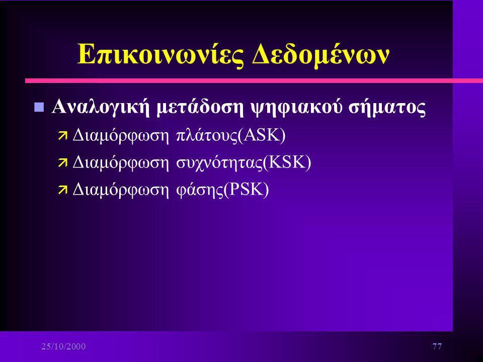25/10/200076 Επικοινωνίες Δεδομένων n Διαμόρφωση ψηφιακών σημάτων ä Ψηφιακή μετάδοση ψηφιακού σήματος: –Τεχνικές διαμόρφωσης ψηφιακού σήματος για ψηφι