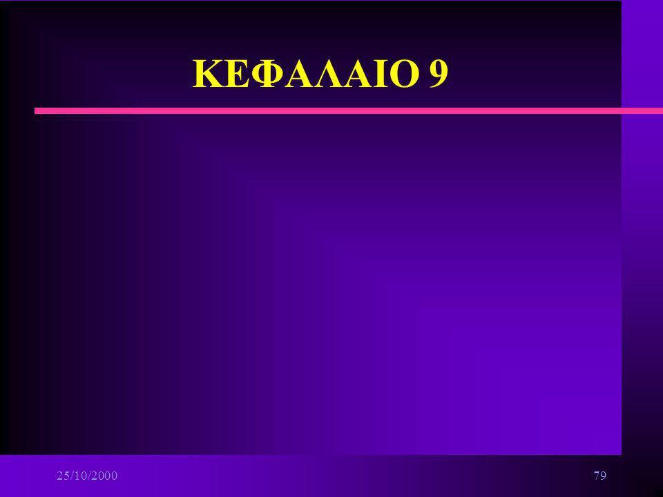 25/10/200078 Επικοινωνίες Δεδομένων n Μέσα Μετάδοσης ä Συνεστραμμένα ζεύγη καλωδίων ä Ομοαξονικά καλώδια ä Οπτικές ίνες ä Ασύρματες ζεύξεις ä Συσκευές