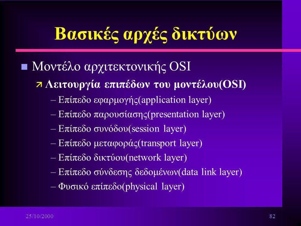 25/10/200081 Βασικές αρχές δικτύων n Πλεονεκτήματα χρήσης δικτύων ä Μοίρασμα πόρων ä Παροχή πρόσβασης σε εξοπλισμό,δεδομένα, προγράμματα που βρίσκοντα