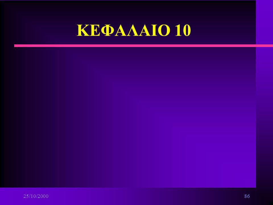 25/10/200085 Βασικές αρχές δικτύων n Δίκτυα βάσει μέσων μετάδοσης ä Ασύρματα n Δίκτυα βάσει τεχνικής προώθησης της πληροφορίας ä Δίκτυα μεταγωγής(swit