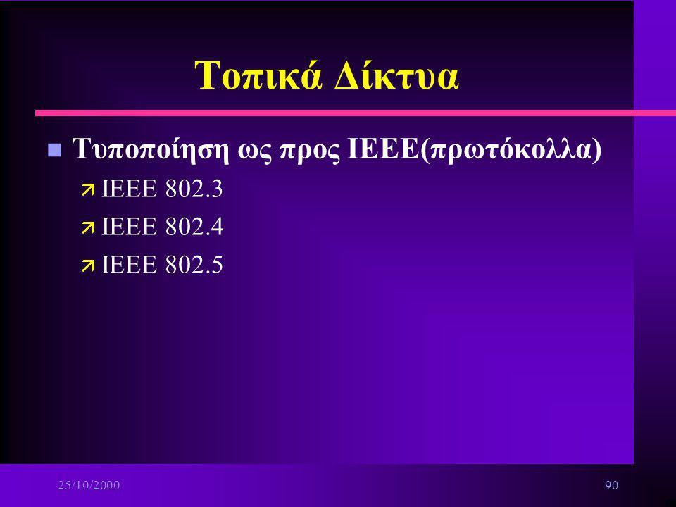 25/10/200089 Τοπικά Δίκτυα n Πρωτόκολλα πρόσβασης στο μέσο μετάδοσης ä Κατηγορίες στατικών πολιτικών παραχώρησης μέσου μετάδοσης : –πρόσβαση διαίρεσης
