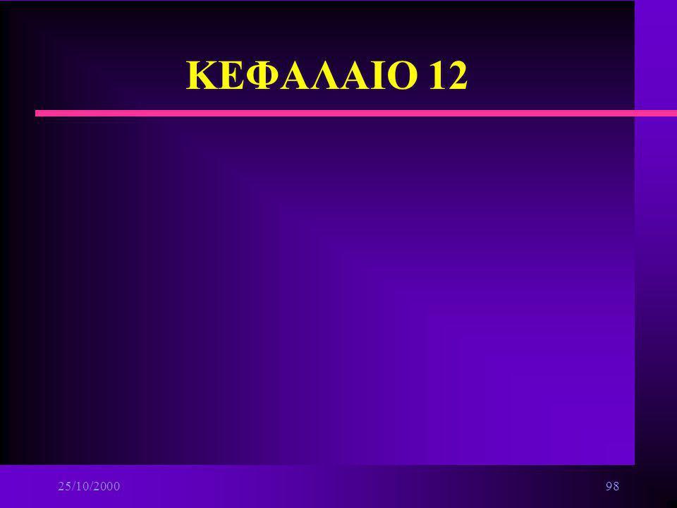 25/10/200097 Δίκτυα ευρείας περιοχής n Ψηφιακό Δίκτυο ενοποιημένων υπηρεσιών ευρείας ζώνης ä Δίκτυα κελιών(Cell-based networks) –διπλή αρτηρία κατανεμ