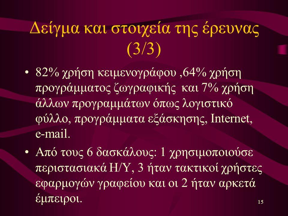 15 Δείγμα και στοιχεία της έρευνας (3/3) 82% χρήση κειμενογράφου,64% χρήση προγράμματος ζωγραφικής και 7% χρήση άλλων προγραμμάτων όπως λογιστικό φύλλο, προγράμματα εξάσκησης, Internet, e-mail.