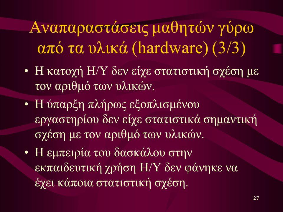 27 Αναπαραστάσεις μαθητών γύρω από τα υλικά (hardware) (3/3) Η κατοχή Η/Υ δεν είχε στατιστική σχέση με τον αριθμό των υλικών.