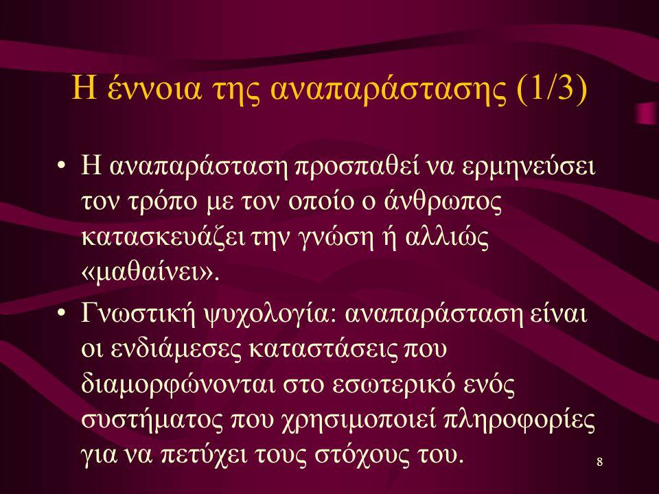 8 Η έννοια της αναπαράστασης (1/3) Η αναπαράσταση προσπαθεί να ερμηνεύσει τον τρόπο με τον οποίο ο άνθρωπος κατασκευάζει την γνώση ή αλλιώς «μαθαίνει».
