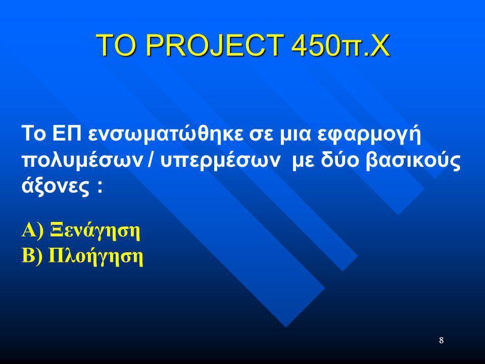8 ΤΟ PROJECT 450π.Χ Το ΕΠ ενσωµατώθηκε σε µια εφαρµογή πολυμέσων / υπερµέσων µε δύο βασικούς άξονες : Α) Ξενάγηση Β) Πλοήγηση