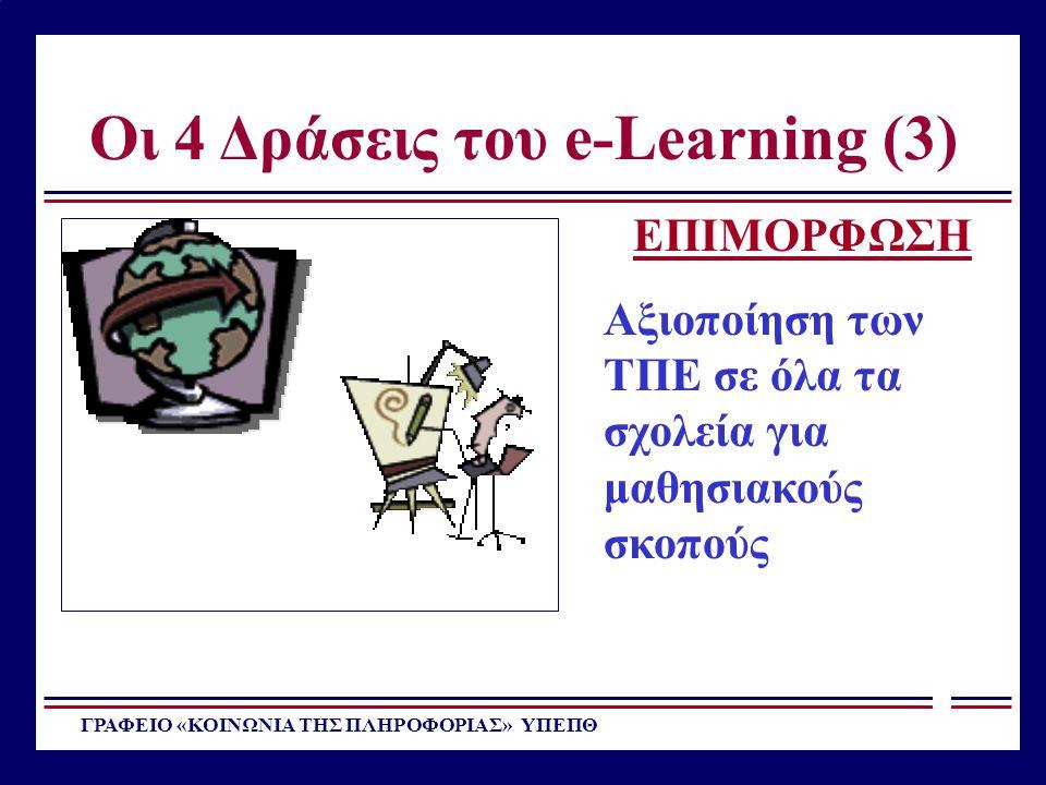 Οι 4 Δράσεις του e-Learning (3) ΓΡΑΦΕΙΟ «ΚΟΙΝΩΝΙΑ ΤΗΣ ΠΛΗΡΟΦΟΡΙΑΣ» ΥΠΕΠΘ ΕΠΙΜΟΡΦΩΣΗ Αξιοποίηση των ΤΠΕ σε όλα τα σχολεία για μαθησιακούς σκοπούς