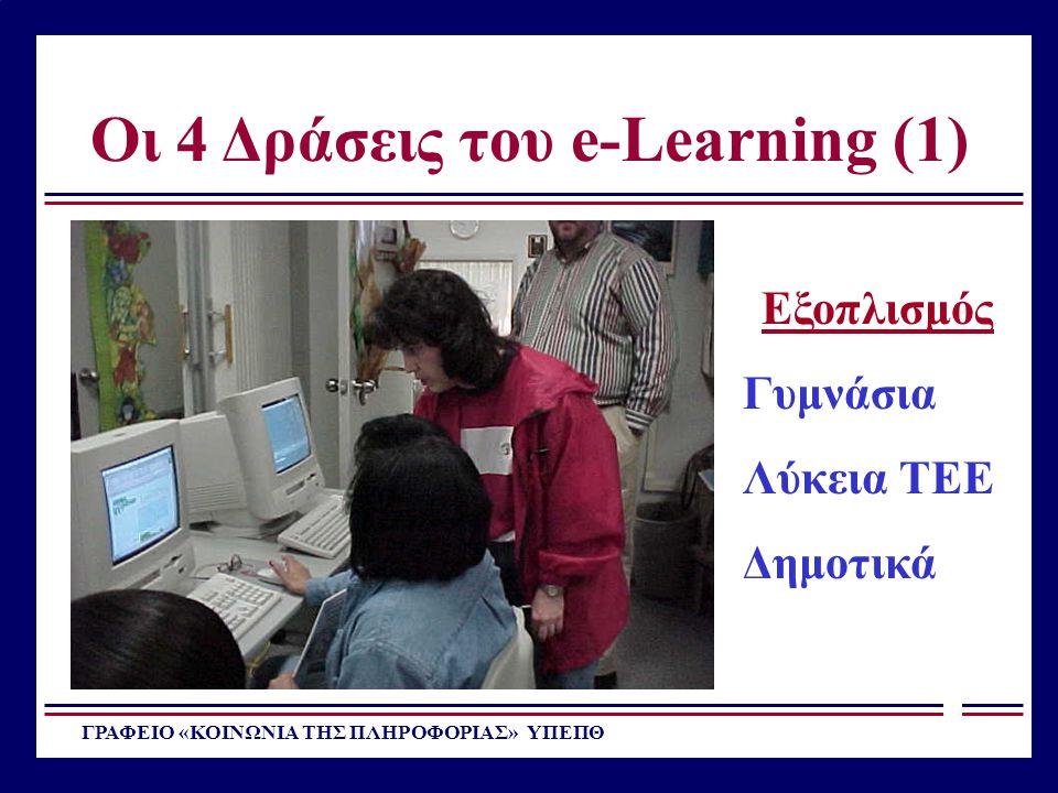 Οι 4 Δράσεις του e-Learning (1) ΓΡΑΦΕΙΟ «ΚΟΙΝΩΝΙΑ ΤΗΣ ΠΛΗΡΟΦΟΡΙΑΣ» ΥΠΕΠΘ Εξοπλισμός Γυμνάσια Λύκεια ΤΕΕ Δημοτικά