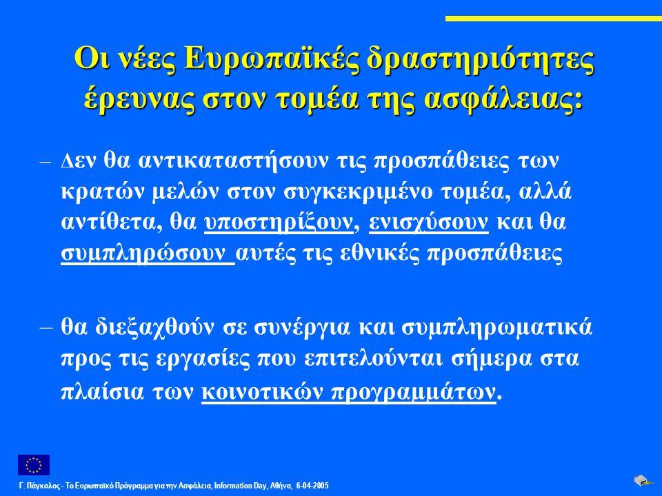 Γ. Πάγκαλος - Το Ευρωπαϊκό Πρόγραμμα για την Ασφάλεια, Information Day, Αθήνα, 6-04-2005 Οι νέες Ευρωπαϊκές δραστηριότητες έρευνας στον τοµέα της ασφά