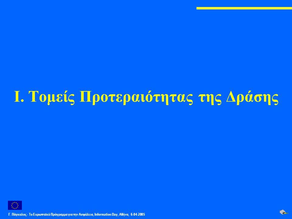 Γ. Πάγκαλος - Το Ευρωπαϊκό Πρόγραμμα για την Ασφάλεια, Information Day, Αθήνα, 6-04-2005 Ι. Τομείς Προτεραιότητας της Δράσης