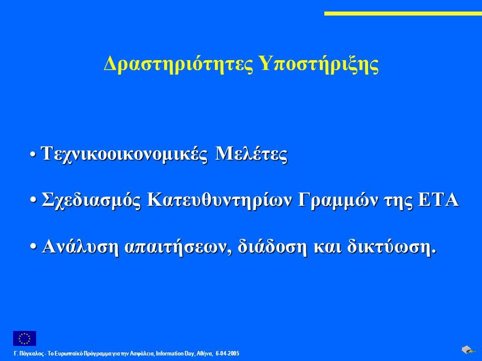Γ. Πάγκαλος - Το Ευρωπαϊκό Πρόγραμμα για την Ασφάλεια, Information Day, Αθήνα, 6-04-2005 Δραστηριότητες Υποστήριξης Τεχνικοοικονομικές Μελέτες Τεχνικο