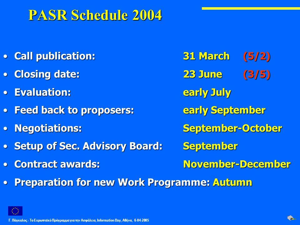 Γ. Πάγκαλος - Το Ευρωπαϊκό Πρόγραμμα για την Ασφάλεια, Information Day, Αθήνα, 6-04-2005 PASR Schedule 2004 Call publication: 31 March (5/2)Call publi