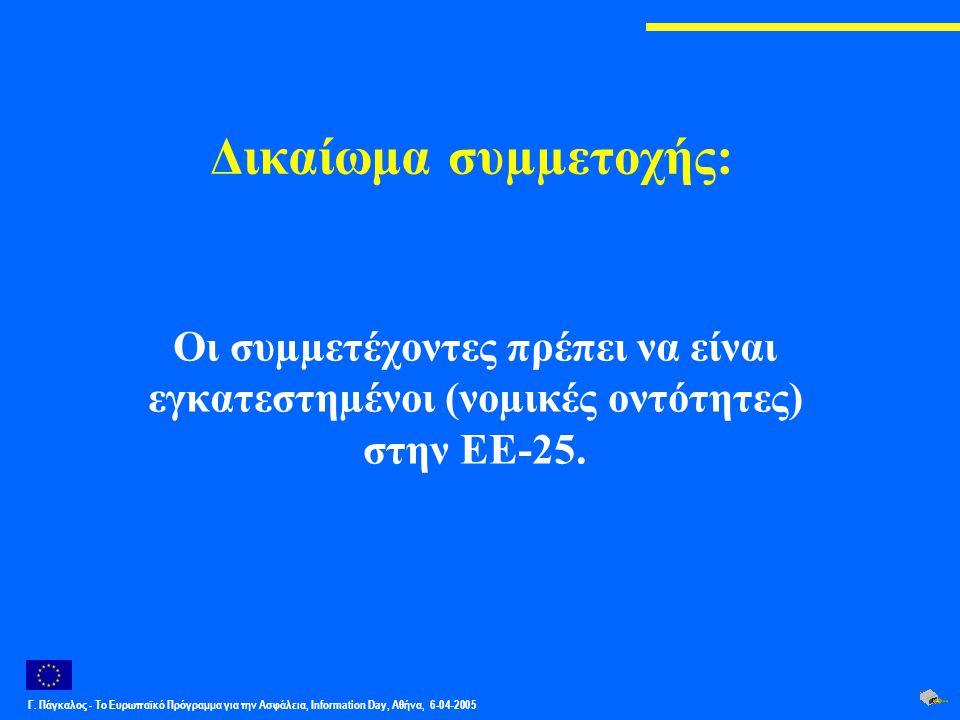 Γ. Πάγκαλος - Το Ευρωπαϊκό Πρόγραμμα για την Ασφάλεια, Information Day, Αθήνα, 6-04-2005 Δικαίωμα συµµετοχής: Οι συµµετέχοντες πρέπει να είναι εγκατεσ
