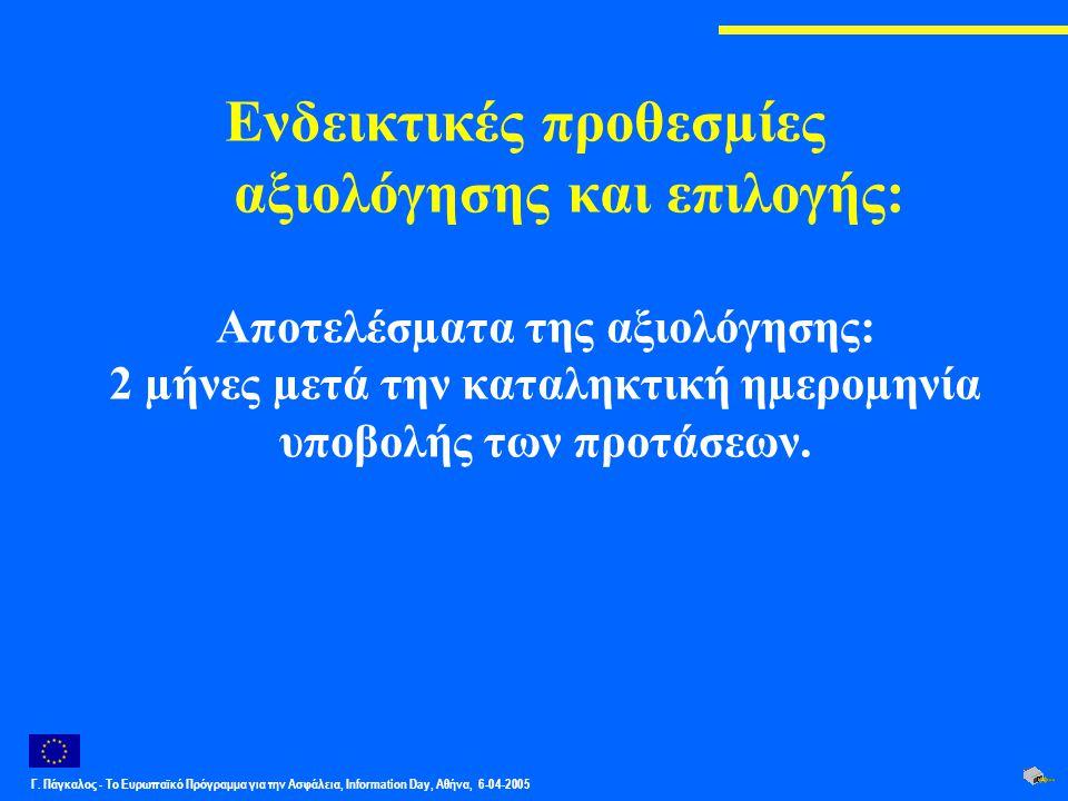 Γ. Πάγκαλος - Το Ευρωπαϊκό Πρόγραμμα για την Ασφάλεια, Information Day, Αθήνα, 6-04-2005 Ενδεικτικές προθεσµίες αξιολόγησης και επιλογής: Αποτελέσµατα