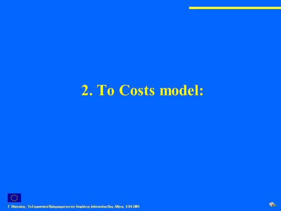 Γ. Πάγκαλος - Το Ευρωπαϊκό Πρόγραμμα για την Ασφάλεια, Information Day, Αθήνα, 6-04-2005 2. Το Costs model: