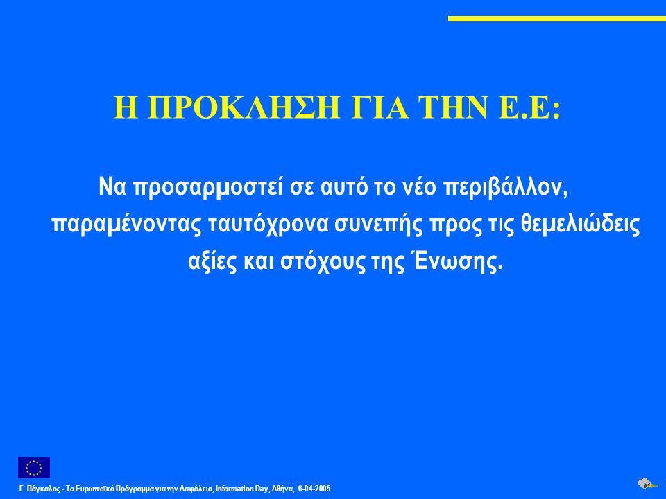 Γ. Πάγκαλος - Το Ευρωπαϊκό Πρόγραμμα για την Ασφάλεια, Information Day, Αθήνα, 6-04-2005 Η ΠΡΟΚΛΗΣΗ ΓΙΑ ΤΗΝ Ε.Ε: Να προσαρµοστεί σε αυτό το νέο περιβά
