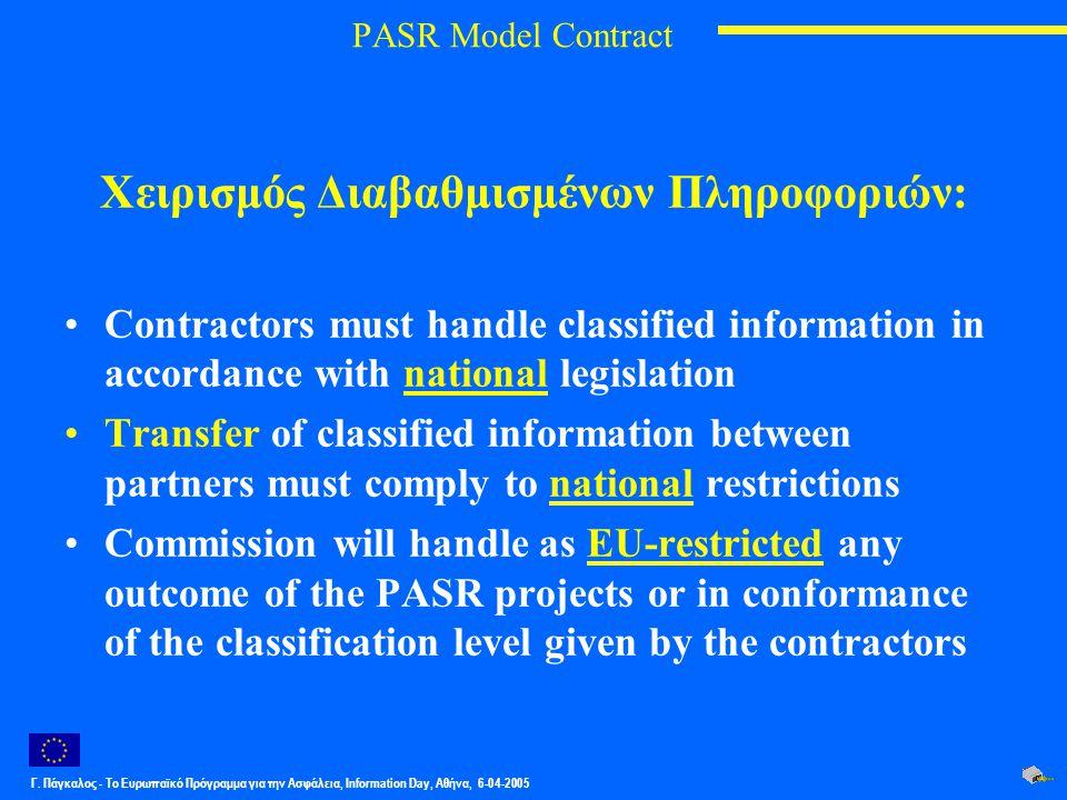 Γ. Πάγκαλος - Το Ευρωπαϊκό Πρόγραμμα για την Ασφάλεια, Information Day, Αθήνα, 6-04-2005 PASR Model Contract Χειρισμός Διαβαθμισμένων Πληροφοριών: Con