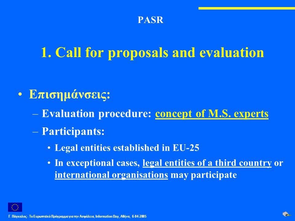 Γ. Πάγκαλος - Το Ευρωπαϊκό Πρόγραμμα για την Ασφάλεια, Information Day, Αθήνα, 6-04-2005 PASR 1. Call for proposals and evaluation Επισημάνσεις: –Eval