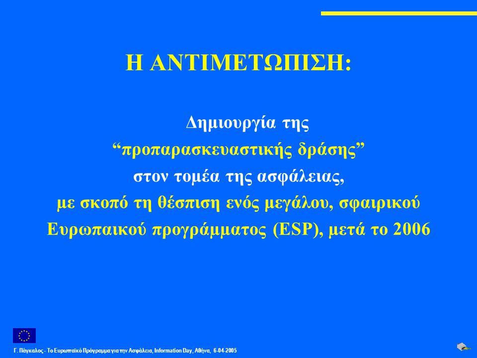 """Γ. Πάγκαλος - Το Ευρωπαϊκό Πρόγραμμα για την Ασφάλεια, Information Day, Αθήνα, 6-04-2005 Η ΑΝΤΙΜΕΤΩΠΙΣΗ: Δημιουργία της """"προπαρασκευαστικής δράσης"""" στ"""