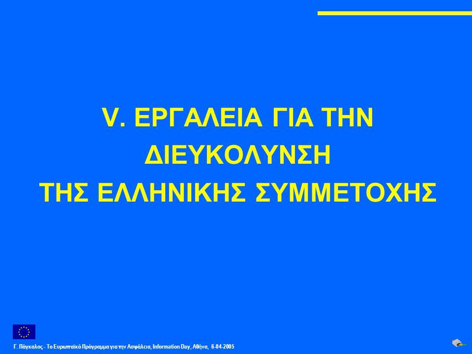 Γ. Πάγκαλος - Το Ευρωπαϊκό Πρόγραμμα για την Ασφάλεια, Information Day, Αθήνα, 6-04-2005 V. ΕΡΓΑΛΕΙΑ ΓΙΑ ΤΗΝ ΔΙΕΥΚΟΛΥΝΣΗ ΤΗΣ ΕΛΛΗΝΙΚΗΣ ΣΥΜΜΕΤΟΧΗΣ
