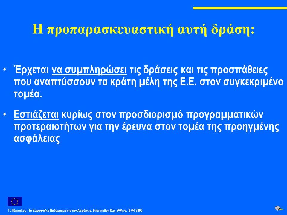 Γ. Πάγκαλος - Το Ευρωπαϊκό Πρόγραμμα για την Ασφάλεια, Information Day, Αθήνα, 6-04-2005 Η προπαρασκευαστική αυτή δράση: Έρχεται να συµπληρώσει τις δρ